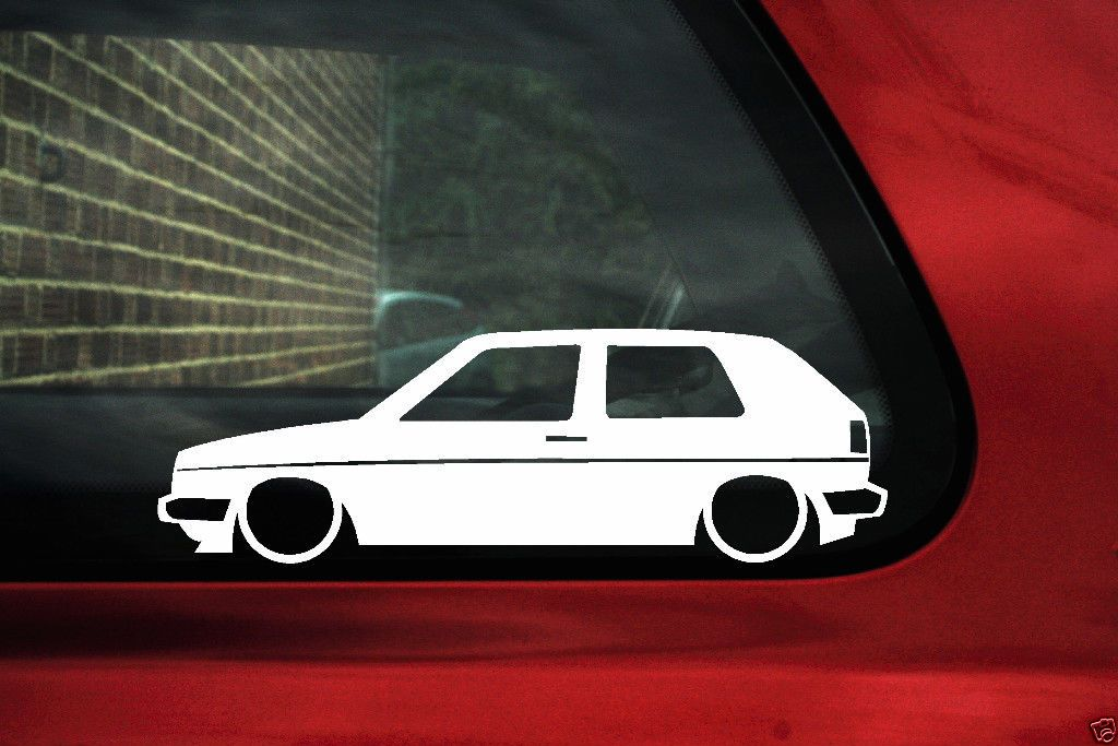 2x Low Car Outline Stickers For Volkswagen Mk2 Golf Gti