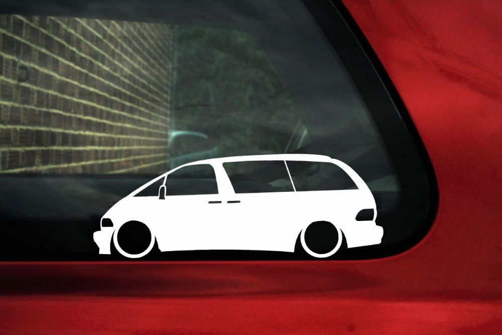 2x Low car outline stickers Toyota Previa Estima Tarago