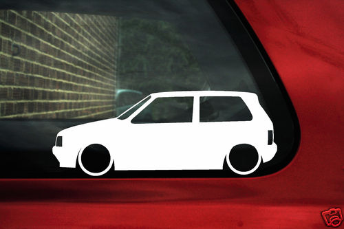 Inside Range Rover >> 2x LOW Fiat Uno Turbo Silhouette outline stickers Decals