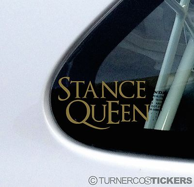 2x stance queen classy gold low car truck bumper window stickers decals