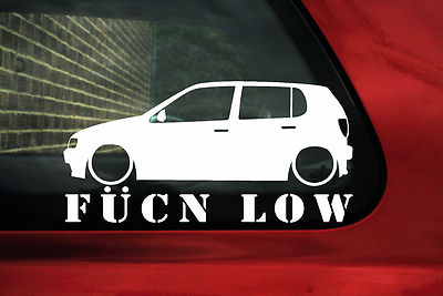aufkleber sticker umriss tiefergelegt fukn low f r vw polo gti 6n mk3 5 t ren. Black Bedroom Furniture Sets. Home Design Ideas