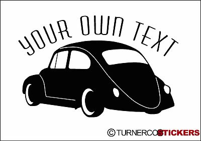 Custom Text Lowered Classic Vw Beetle Side Rear Silhouette