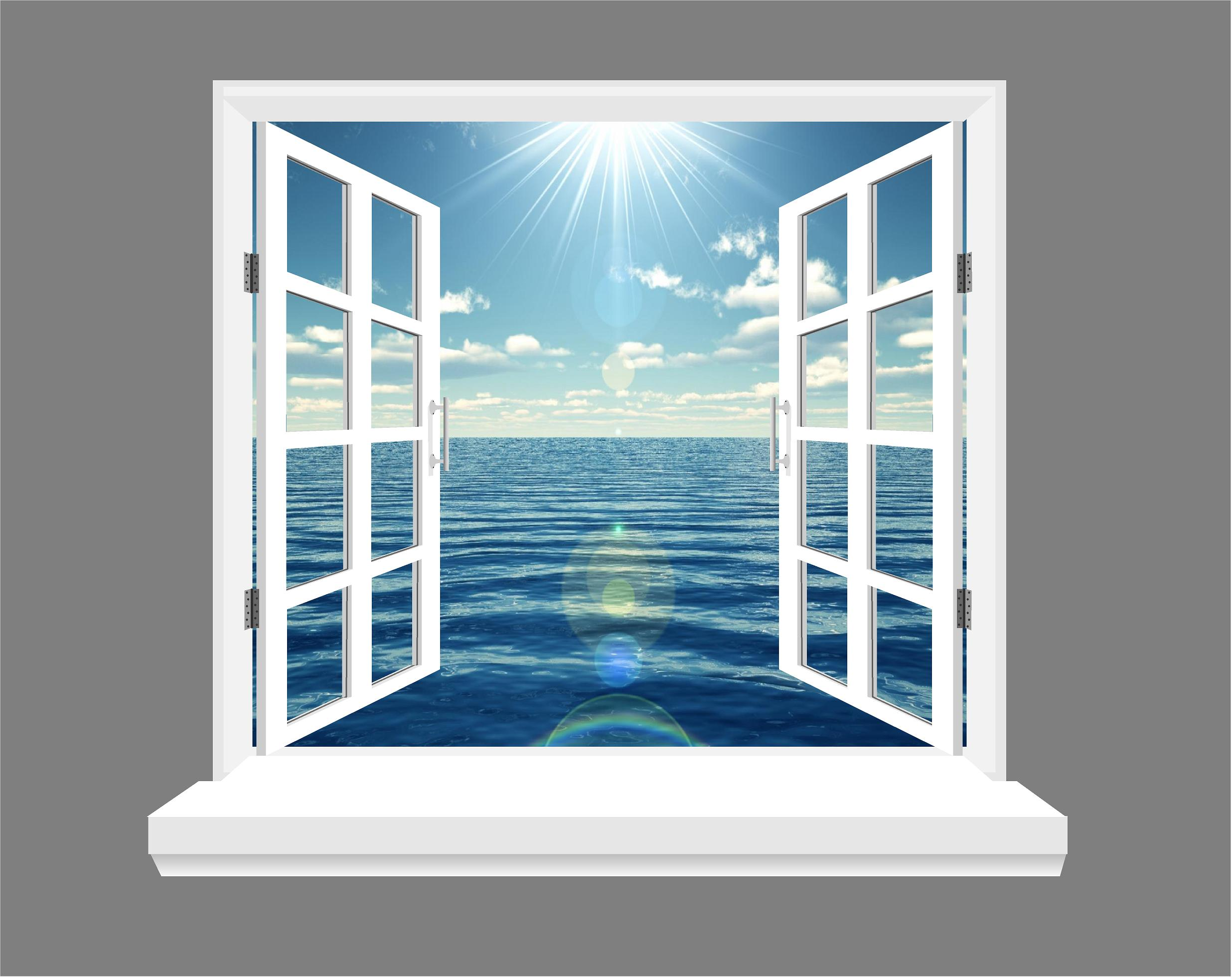 Ocean and blue skies 3d window view wall art sticker for Window wall