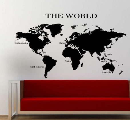 & The World Map wall art sticker planet earth decal v1