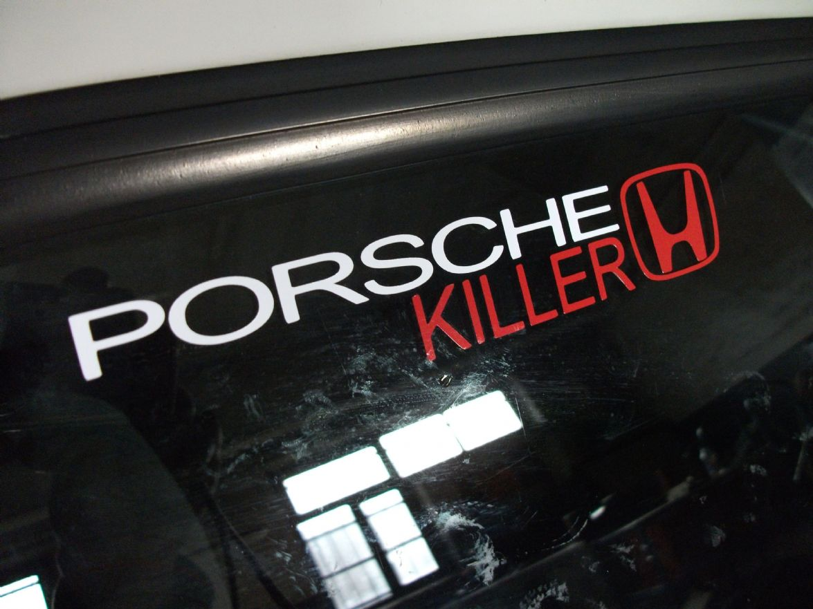 Porsche killer honda sticker decal for all motor or turbo dohc vtec b16 b18 k20 h22