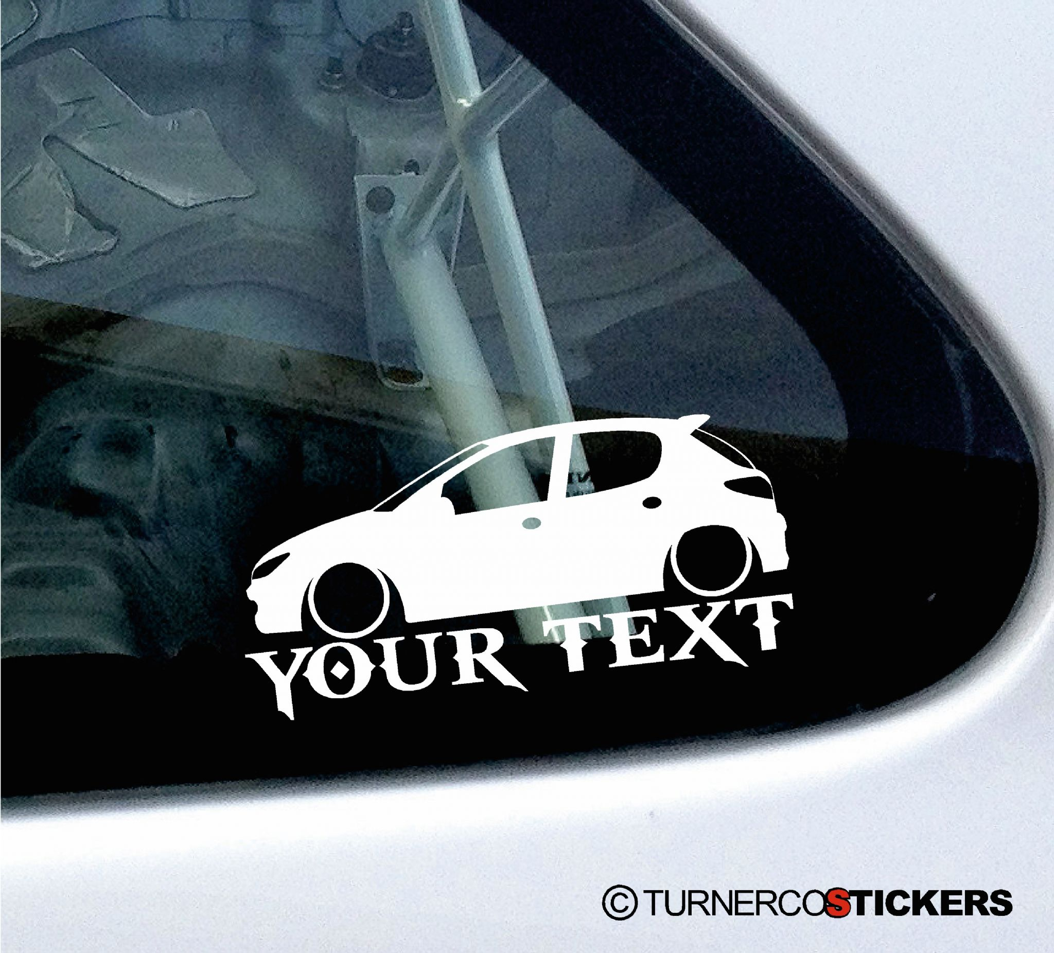 2x custom your text lowered car stickers - peugeot 206 hdi 5-door