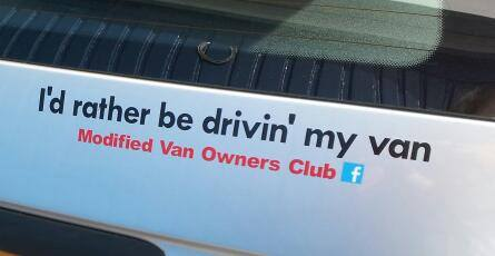 2x I'd rather be driving my van MVOC club stickers (modified van owners club)