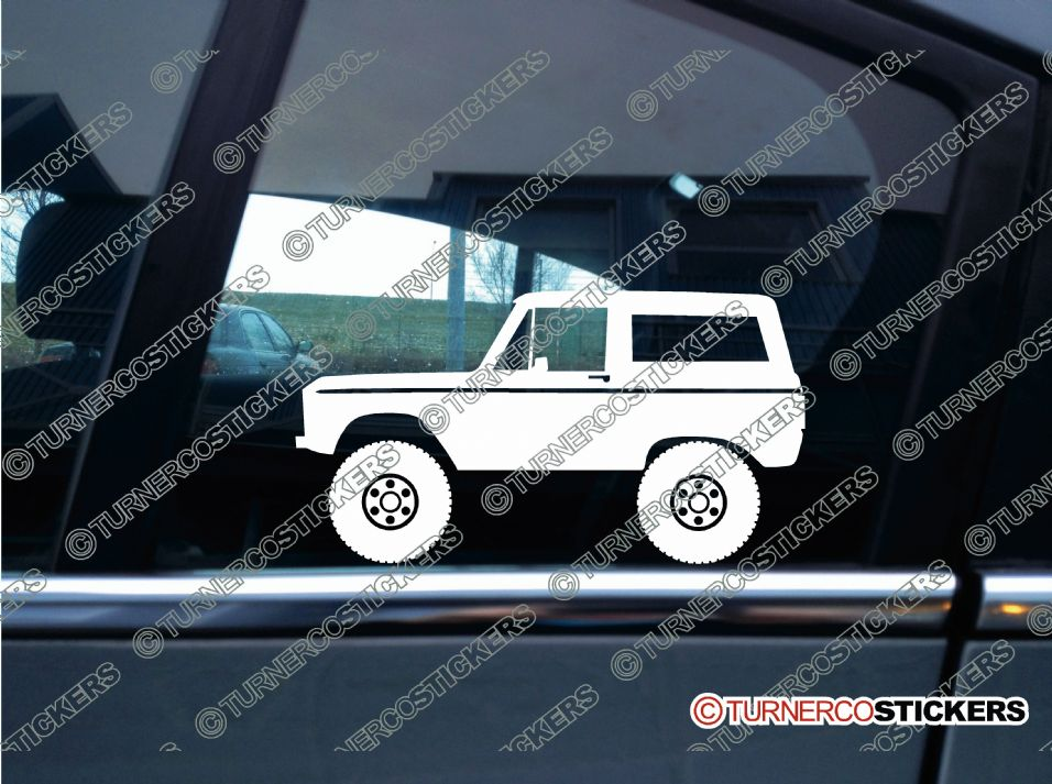 Inside Of A Range Rover >> 2x Lifted classic Ford Bronco offroad 4x4 truck silhouette stickers
