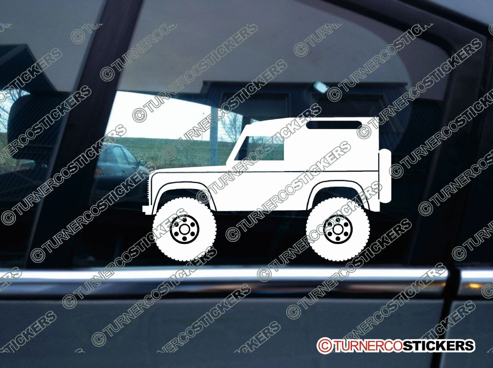 Alfa Stickers >> 2x Lifted Land Rover Defender 90 VAN offroad 4x4 silhouette stickers
