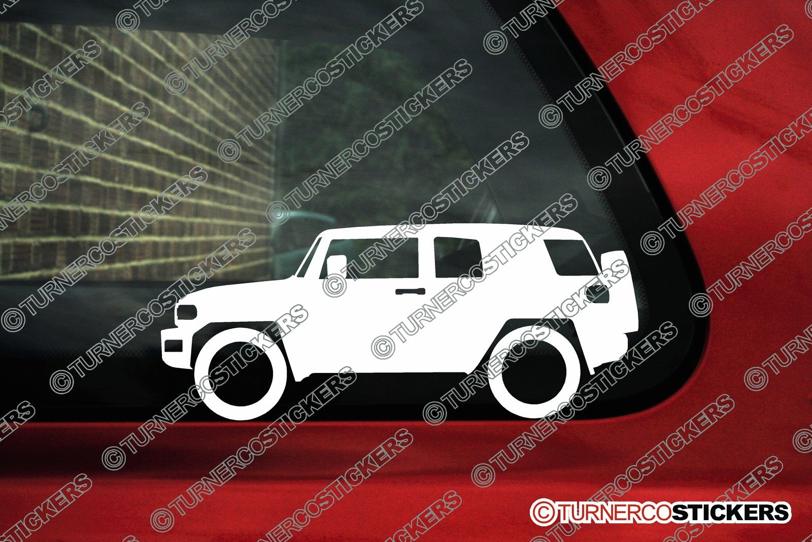 2x Low Car Outline Stickers Toyota Fj Cruiser Non Roof Rack