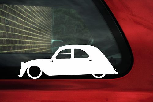 2x LOW Citroen 2cv lowered car outline stickers
