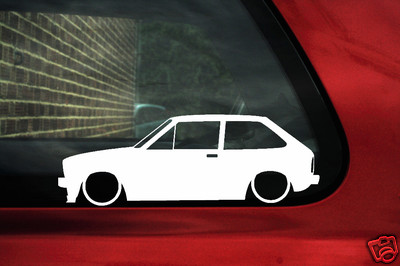 2x LOW Ford Fiesta Mk1 XR2 outline Silhouette stickers Decals
