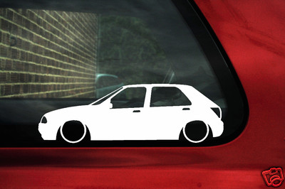 2x LOW Ford Fiesta Mk4, 5 door Ghia,zetec SE outline stickers / silhouette Decals