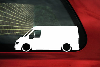 2x Low Ford Transit Mk6 Van Outline Silhouette Stickers Decals