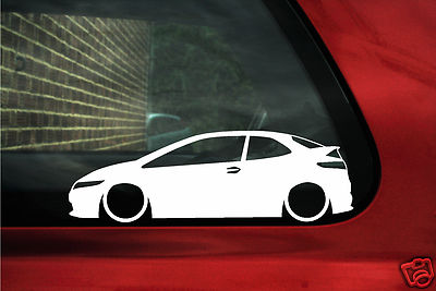 2x Low Honda Civic Type R Si Fn2 Vtec Silhouette Outline