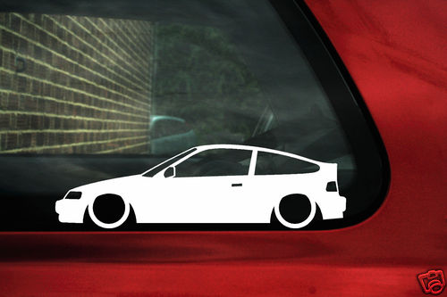 2x LOW Honda CRX VTi SRi Si Vtec. outline silhouette stickers decals