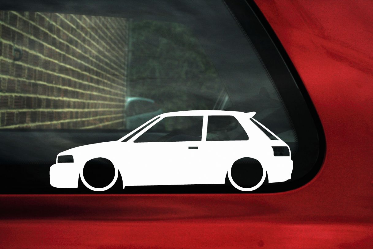 2x low mazda 323 familia gtr gtx hatchback outline stickers decals