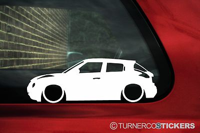 2x Low Nissan Juke Outline Silhouette Stickers Car Decals