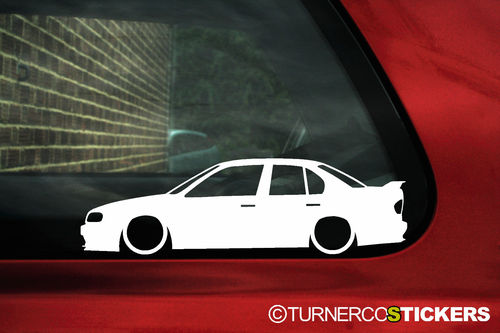 2x LOW Nissan p10 Primera,2.0 eGT,SRi.GTi outline,silhouette, stickers, Decals (1)