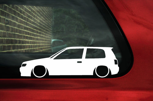 2x Low Nissan Sunny Pulsar N14 Car Silhouette Outline Stickers Decals