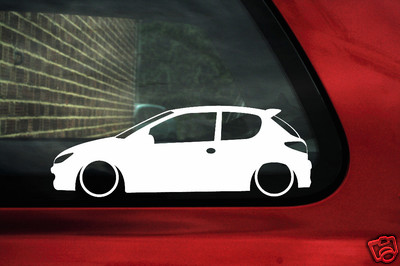 2x Low Peugeot 206 Hdi Gti Rc Outline Stickers
