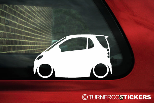 2x LOW Smart ForTwo 1st gen car silhouette outline stickers Decals