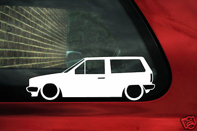 2x LOW VW Polo Mk2 squareback volkswagen wagon outline Silhouette stickers Decals