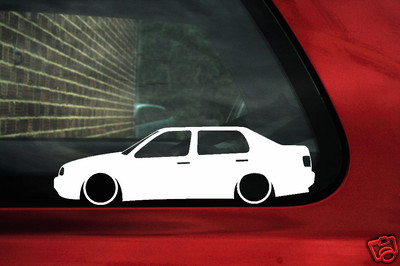 2x LOW VW Vento VR6 Jetta mk3 GLi outline silhouette stickers decals