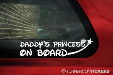 """2x /""""Daddy/'s Princess On board/"""" child Baby girl car warning stickers Decals"""