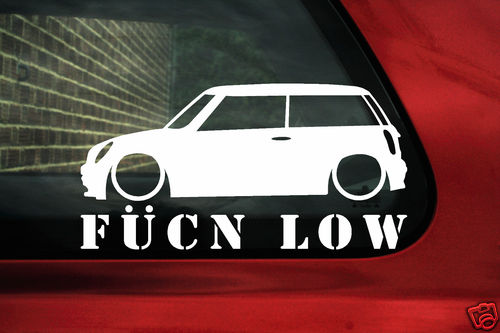 Mini Cooper S Works One Fukn Low Sticker Decal For New