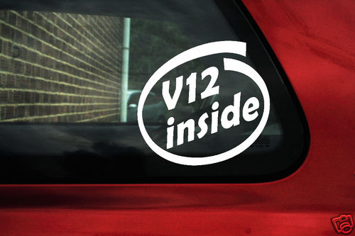 V12 inside stickers For BMW E38,Mercedes,Jaguar XJS